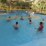 me with my friends playing water volleyball