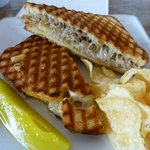 Grilled cheese with pork and pineapple