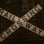 Old railway crossing sign.
