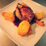 Stuffed Partridge served with Blackcurrant sauce