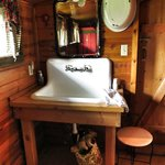Farmhand sink in the sheepherders cabin!