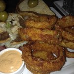 Pastrami Sandwich and onion rings