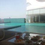 Morning breakfast by the pool