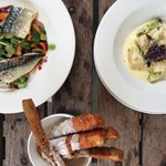 Courgette fries (must try) gnocchi Appetiser and that beautiful mackerel