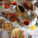 Breakfast at the pension - a good value and delivered to your living/dining room common space.