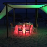 Table set on the beach for