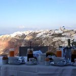 Beautiful breakfast spread with an incredible view