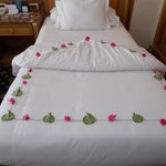 Lovely petals on bed