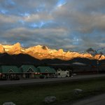 Sunrise on the mountains across the street from Econo Lodge