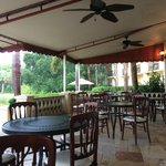 Outdoor dining or drinks area, great place to eat breakfast!