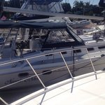 9-22-2014- Walking to the bow to enjoy and to take in the views of the Marina on Shelter Island!