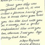 Thank you note from Stella D'souza, Welcom Diva