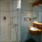 Bathroom (2 photos stitched) the toilet was behind a seperate door (not shown).