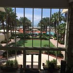 Looking out to pool/beach area from lobby