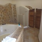 Jacuzzi, shower, and doors to toilet