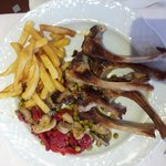 Tasty lamb chops in lieu of the roast lamb (call ahead)