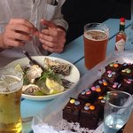 Oysters and chocolate cake(we brought)