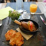 Very delicious stewed lamb with corn bread