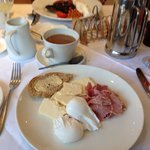 Delicious breakfast ... Freshly brewed coffee, Wensleydale cheese, local ham and poached eggs