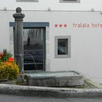 The hotel and one of many water troughs in the town