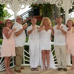 Group Wedding Toast in Gazebo
