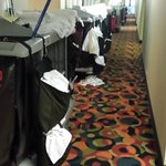 Maids carts in hallway on 1st floor