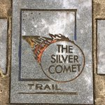 A trail marker for the Silver Comet Bike Path.