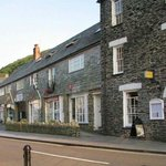 View of Riverside Hotel and main street in Boscastle