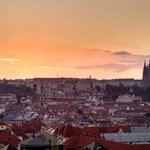 sunset from old town Prague clock tower