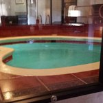 Looking at heated Heart Shaped Pool from Living Room