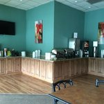 breakfast bar area with waffles; biscuits & gravy, etc. (no eggs)