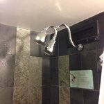 Double shower head which looks impressive but there wasn't enough water pressure to power both