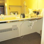 Four foot high bathroom counter with double kitchen sink