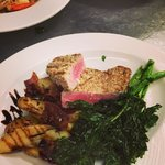 Almond and fennel crusted tuna with bacon thyme fingerlings and fried broccoli rabe!