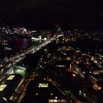 View of the Sydney Harbour Bridge at night from the room.