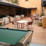 Pool table and outdoor area