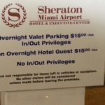 Sign noting valet and non guest charges