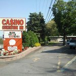 front  area  casino sign with  flowers