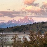 Sunrise on the Tetons, from the dining room