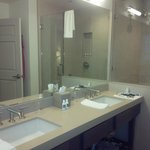 Double sink vanity with large shower stall