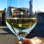 View of Church Road Winery through a Wineglass of Chardonnay
