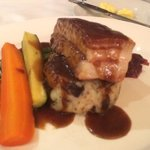 roast pork belly in jus and veg