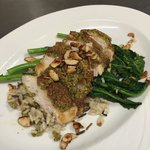 Hazelnut and almond pesto crusted chicken! Garnished with caramelized almond slices!!! So delici