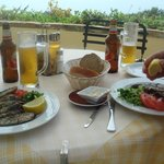 Fresh grilled sardines on the terrace