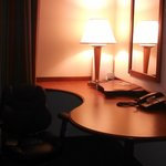 Desk and chair in corner of room was an added convenience.