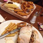 Pub grub   Platter for two - scampi, chicken, garlic bread, onion rings and wedges  BBQ pull