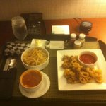 Room Service - Fries, Calamari, and Minestrone