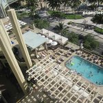 view from room overlooking Waikiki beach and pool area