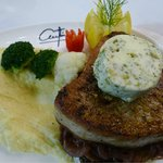Barbecue Fresh Tuna bedded with red onions sauce, mashed potatoes and vegetables