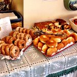 Oatmeal, sweets and pastry breakfast.The Lodge at Jackson Village, New Hampshire. Photo by Terry